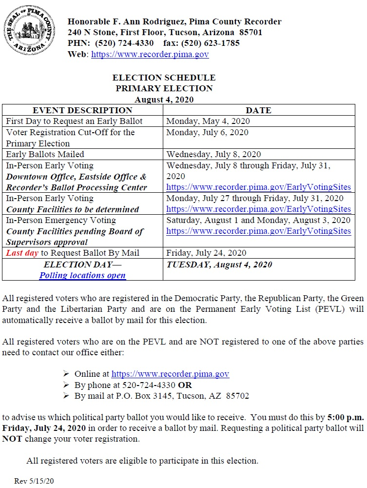 Election Schedule Primary Election August 4, 2020